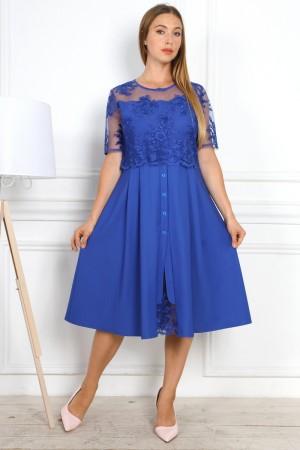 Нарядное синее платье YM37501 с евросеткой большого размера
