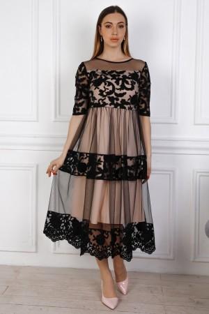 Святкове рожеве плаття з євросіткою YM36002 пудра