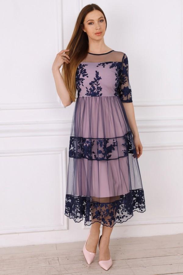 Святкове синє  плаття з євросіткою YM36003