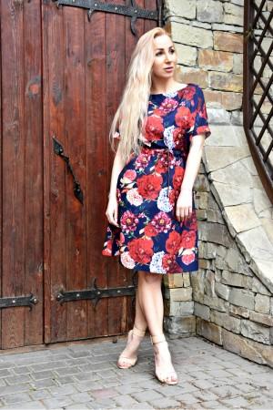 Сукня з коротким рукавом Хлоя квіти на синьому фоні AD51302