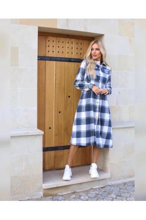 Плаття  тепле велика клітинка осінь-зима 2021 AL88602 джинс