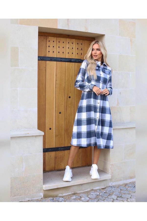 Платье теплое крупная клетка осень-зима 2021 AL88602 джинс