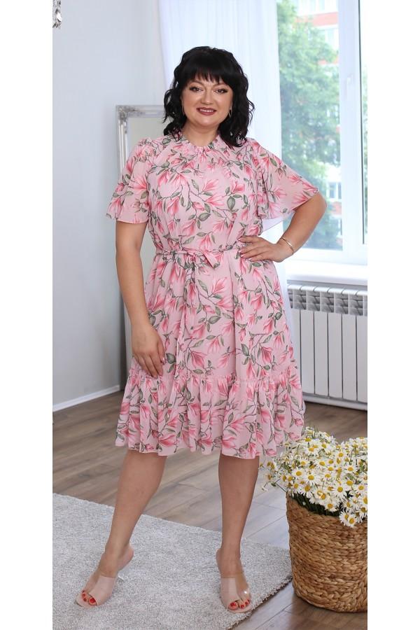 Нарядне шифонове плаття в квітку LB219703 рожевий