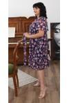 Сукня нарядна  шифонова квітковий прінт  LB219701 синій
