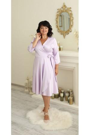 Нарядне атласне плаття  великого розміру LB220202 бузок