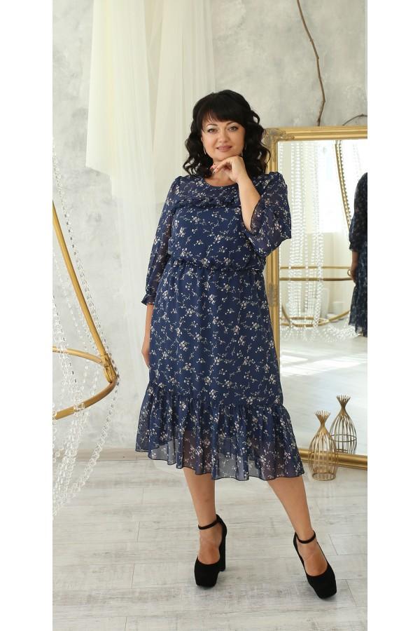 Вишукане шифонове плаття великого розміру LB221102 синій