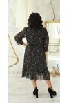 Темне  шифонове плаття  великого розміру LB221101 чорне