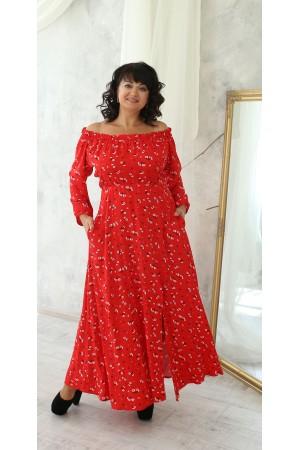 Привабливе довге плаття великого розміру LB222802 червоний