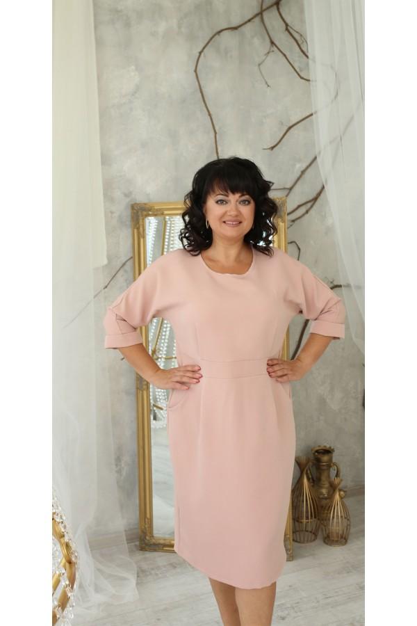 Ділова сукня з карманами великого розміру LB222201 пудра. Сезон осінь 2021