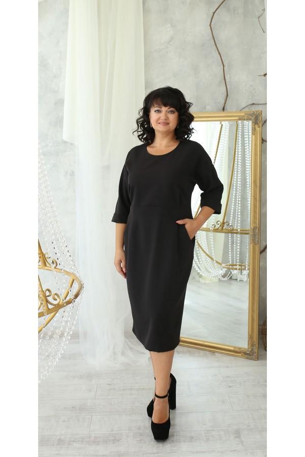 Ділова сукня з карманами великого розміру  LB222204 чорний. Сезон осінь 2021
