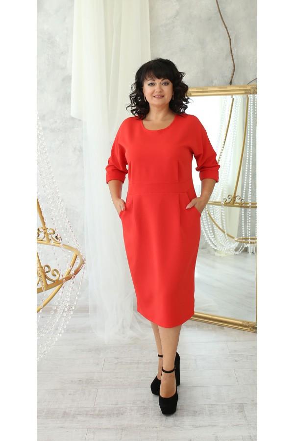 Ділова сукня з карманами великого розміру  LB222205  червоний. Сезон осінь 2021