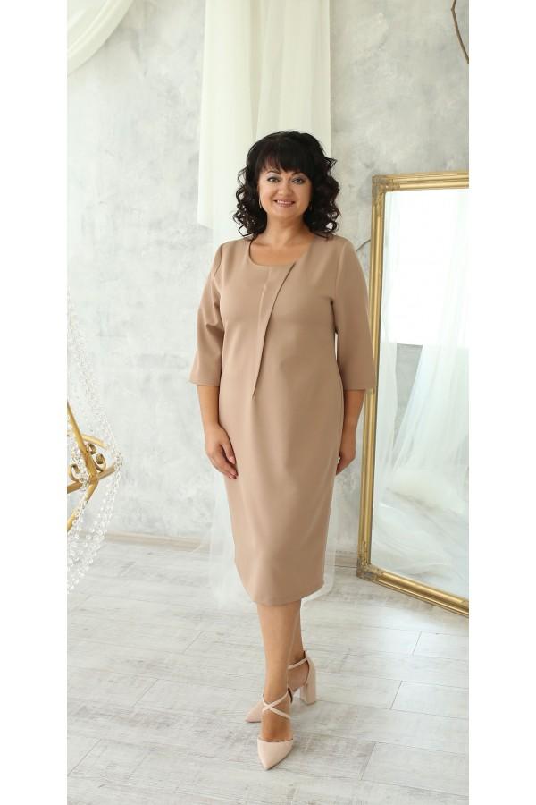 Деловая платье большого размера LB222503 беж