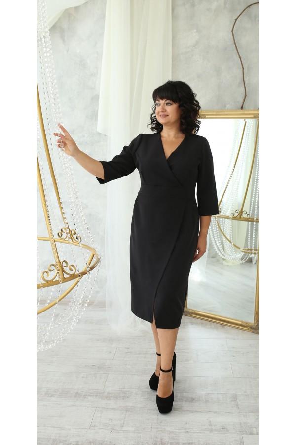 Платье деловое сезон осень 2021 большого размера LB222703 черный