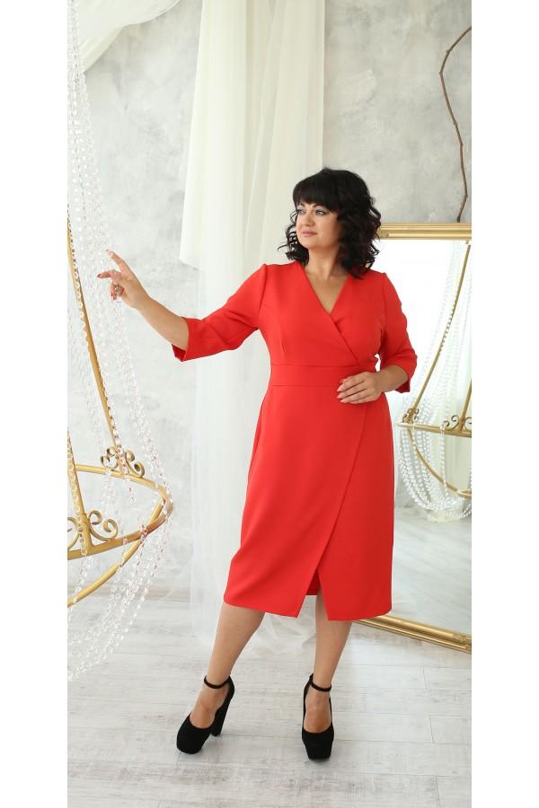Платье деловое сезон осень 2021 большого размера LB222701 красный