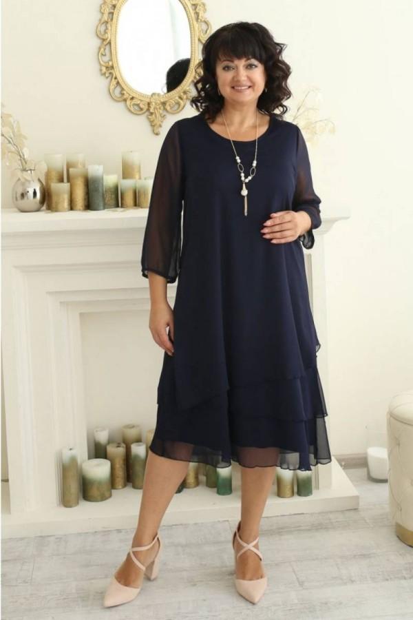 Платье нарядное сезона осень 2021 большого размера LB222903 синий