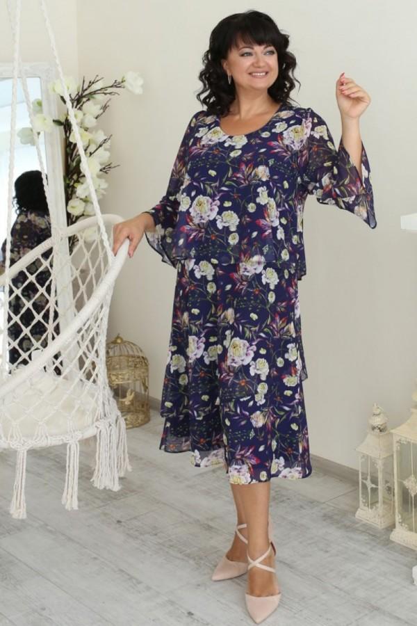 Платье нарядное сезона осень 2021 большого размера LB223201 цветы