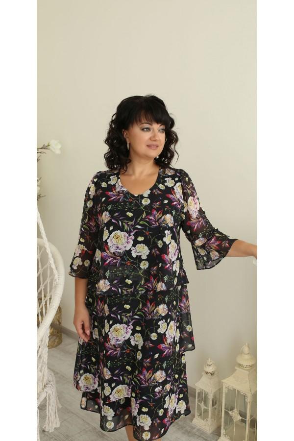 Платье нарядное сезона осень 2021 большого размера LB223202 цветы
