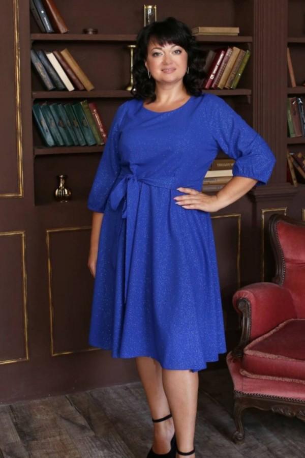 Шикарное платье с поясом 2021 большого размера LB221702 электрик