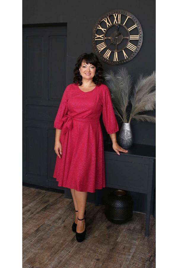 Шикарное платье с поясом 2021 большого размера LB221703 красный