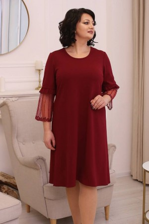 Элегантное платье сезона осень 2021 большого размера LB198702 бордо
