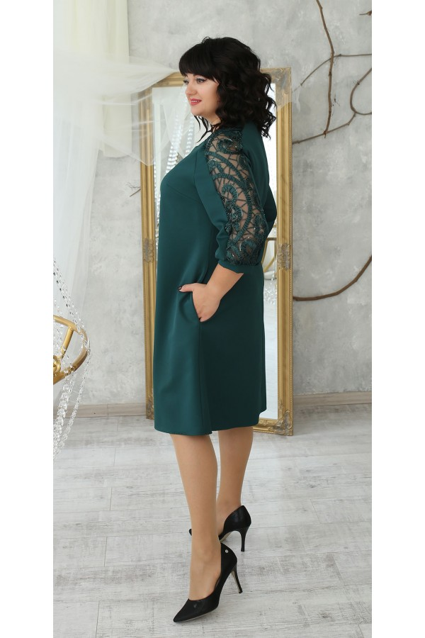 Нарядное платье большого размера 2021   LB223503 зеленый