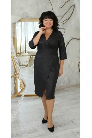 Нарядна сукня великого розміру 2021 напівприталена LB224102 чорна