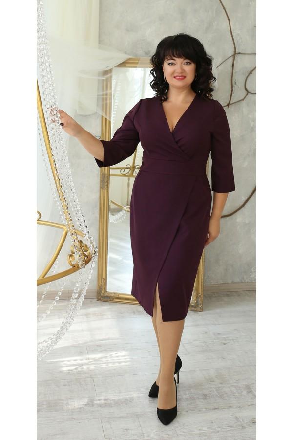 Нарядное платье большого размера 2021 LB224101 бордо
