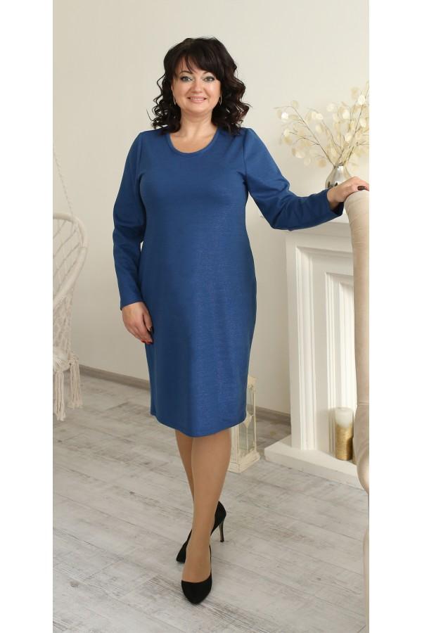 Деловая платье 2021 большого размера полуприталенный LB225303 синий