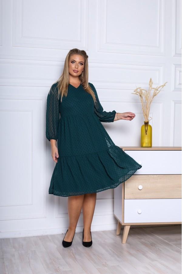 Нарядна сукня великого розміру з шифону 2021 трапеція YM43602 зелене