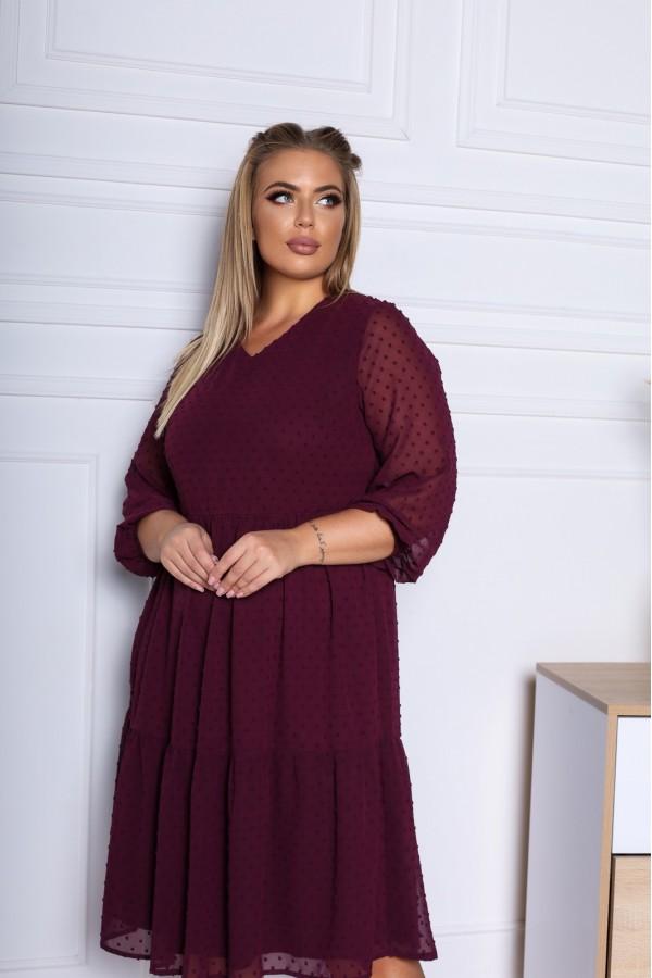 Нарядное платье из шифона 2021 трапеция YM43603 бордо