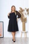 Нарядна сукня великого розміру з шифону 2021 трапеція YM43601 чорна
