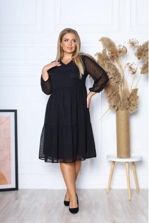 Нарядна сукня з шифону 2021 трапеція YM43601 чорна