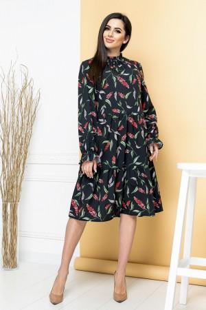 Чорне плаття-трапеція YM42004 квіти
