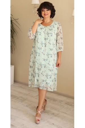 Шикарна сукня шифонова великого розміру LB207502 мята в квіти