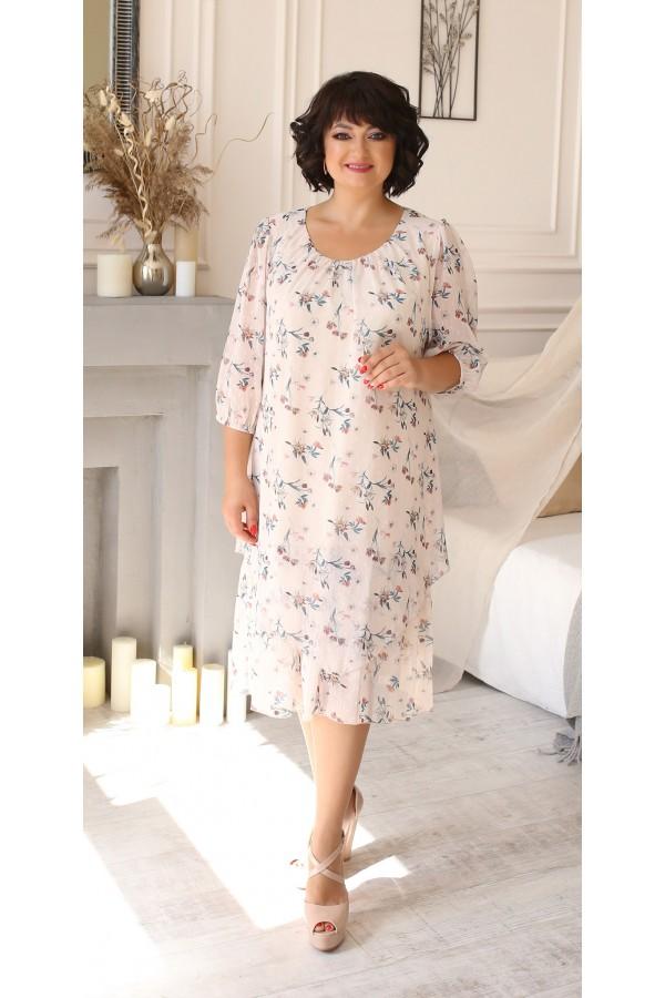 Шикарна сукня шифонова великого розміру LB207501 кремовий в квіти