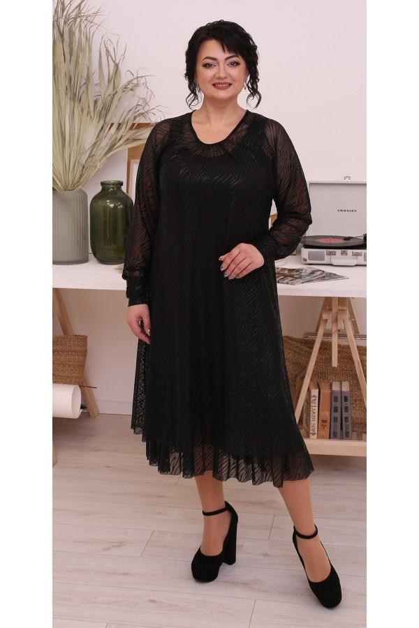 Шикарное  нарядное платье большого размера LB214302 черый