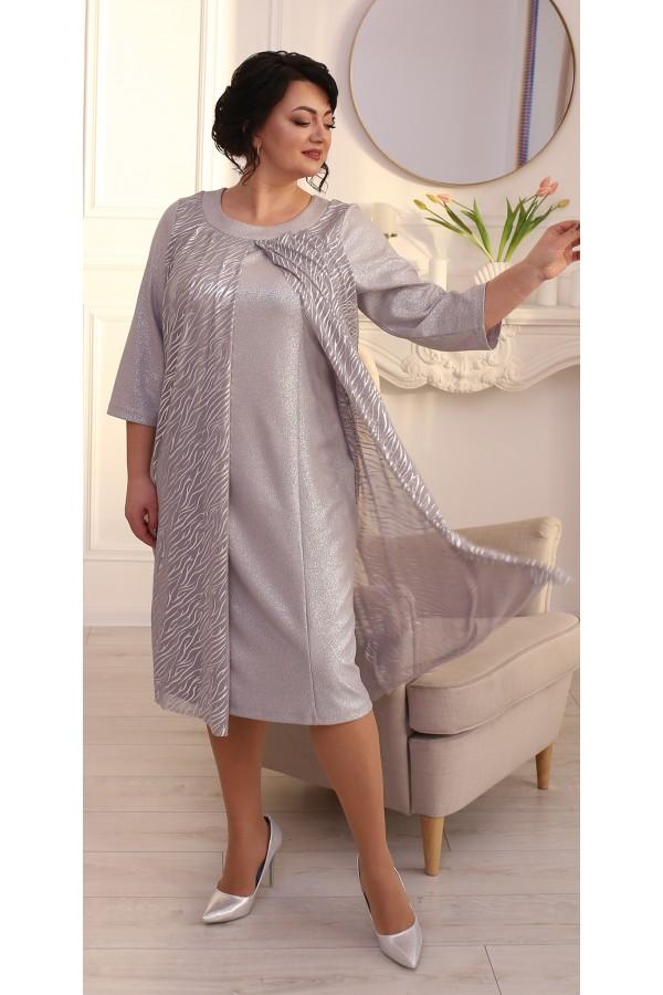 Шикарное платье с накидкой LB215002 серый