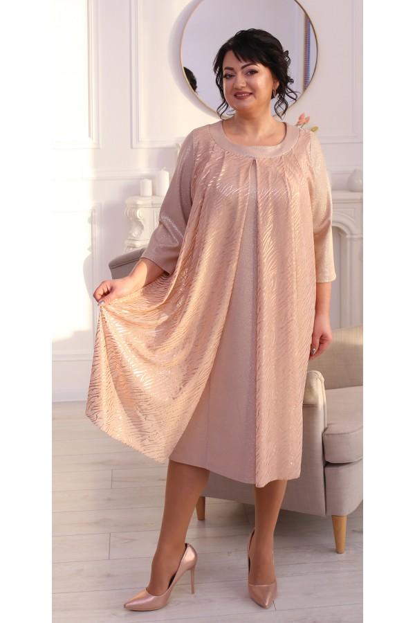Нарядне плаття з накидкою LB215001  беж