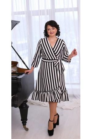 Сукня на запах великого розміру LB215501 в полоску
