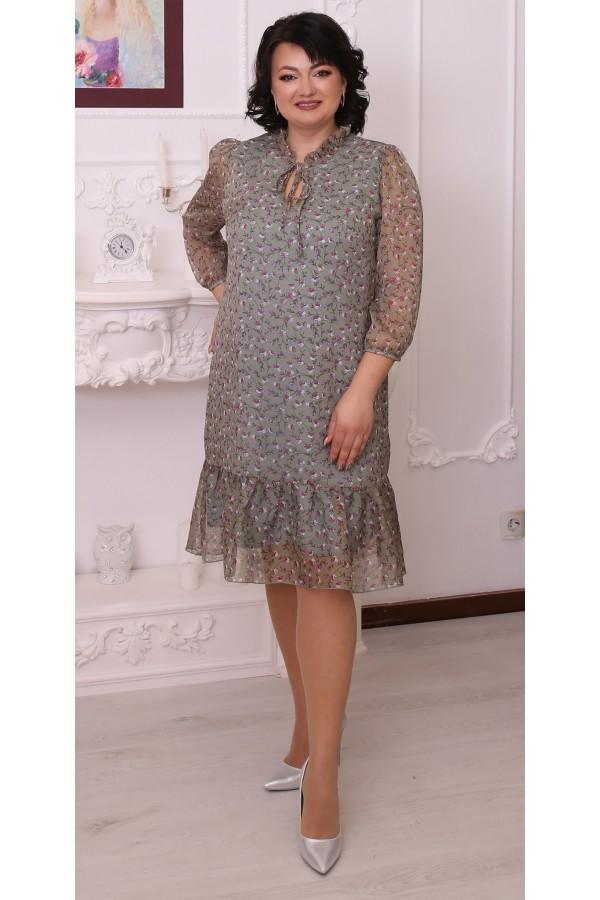 Трендова сукня LB216403 сезону 2021 оливкове