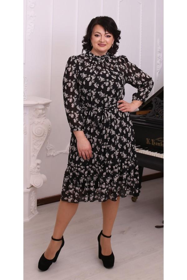 Шикарна сукня шифонова великого розміру LB216202 квіти