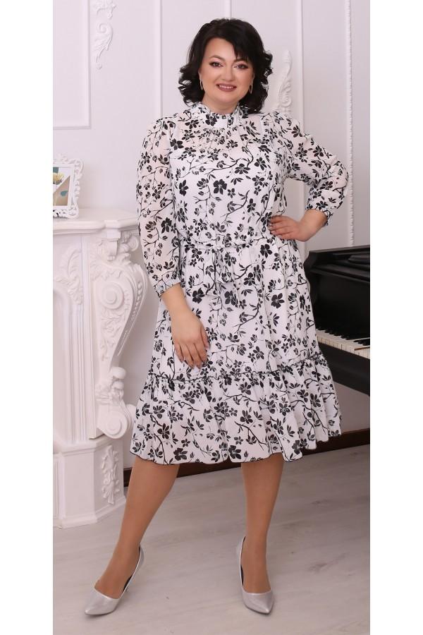 Шикарна сукня шифонова великого розміру LB216203  біла в квіти