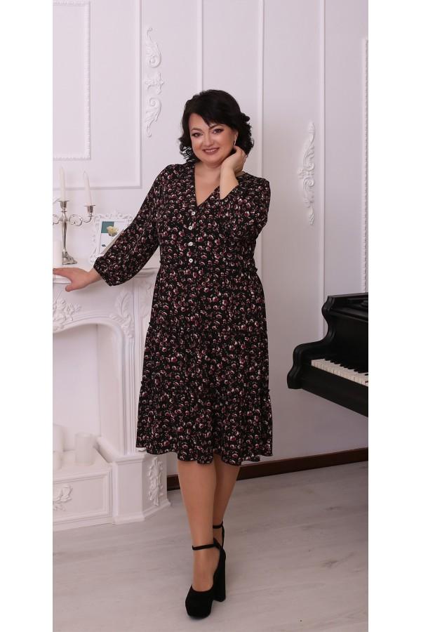 Квіткова сукня великого розміру LB215902 чорний