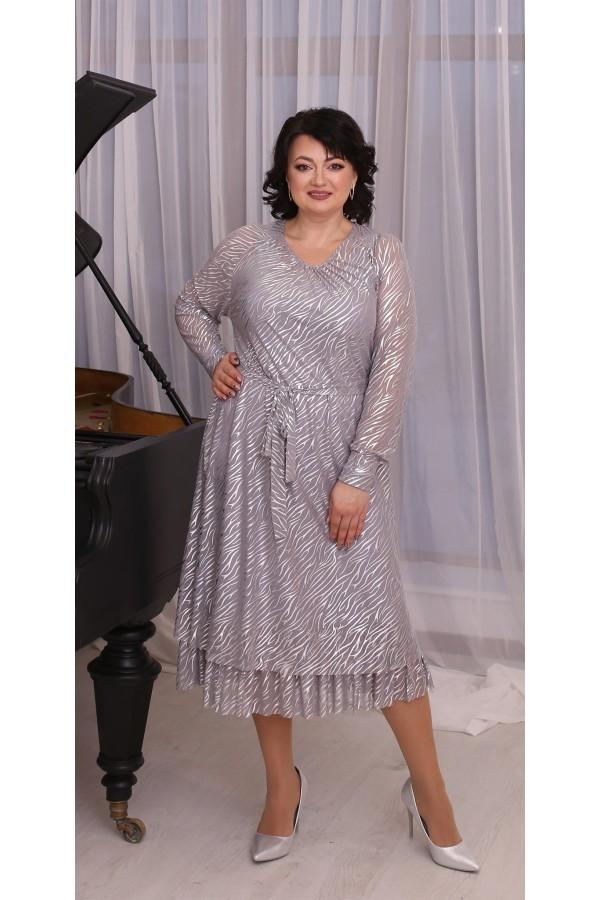 Шикарное  нарядное платье большого размера LB214301 серый