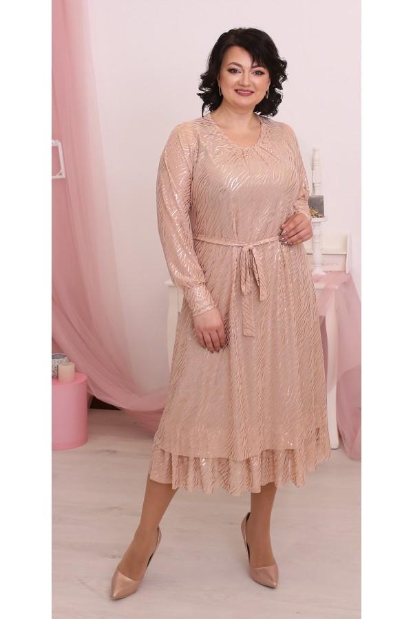 Шикарное  нарядное платье большого размера LB214303 беж