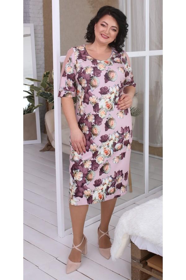 Квіткова сукня великого розміру LB217202 рожевий
