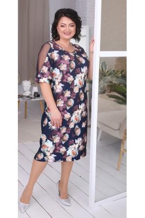 Квіткова сукня великого розміру LB217201 синій