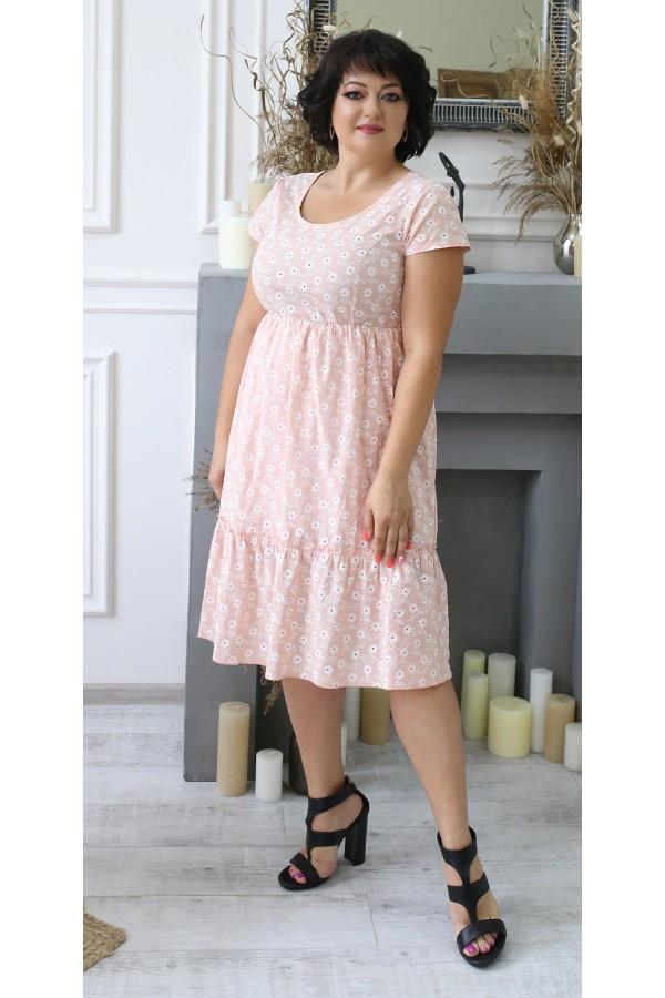 Стильное летнее платье прошва большого размера LB204602 пудра