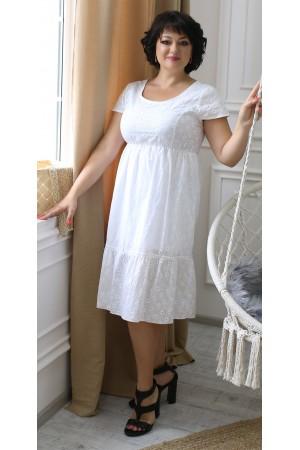 Літня сукня 2021 прошва великого розміру LB204601 біла