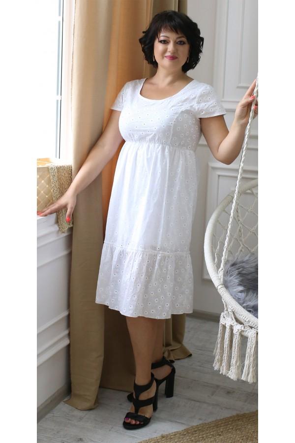 Стильное летнее платье прошва большого размера LB204601 белое